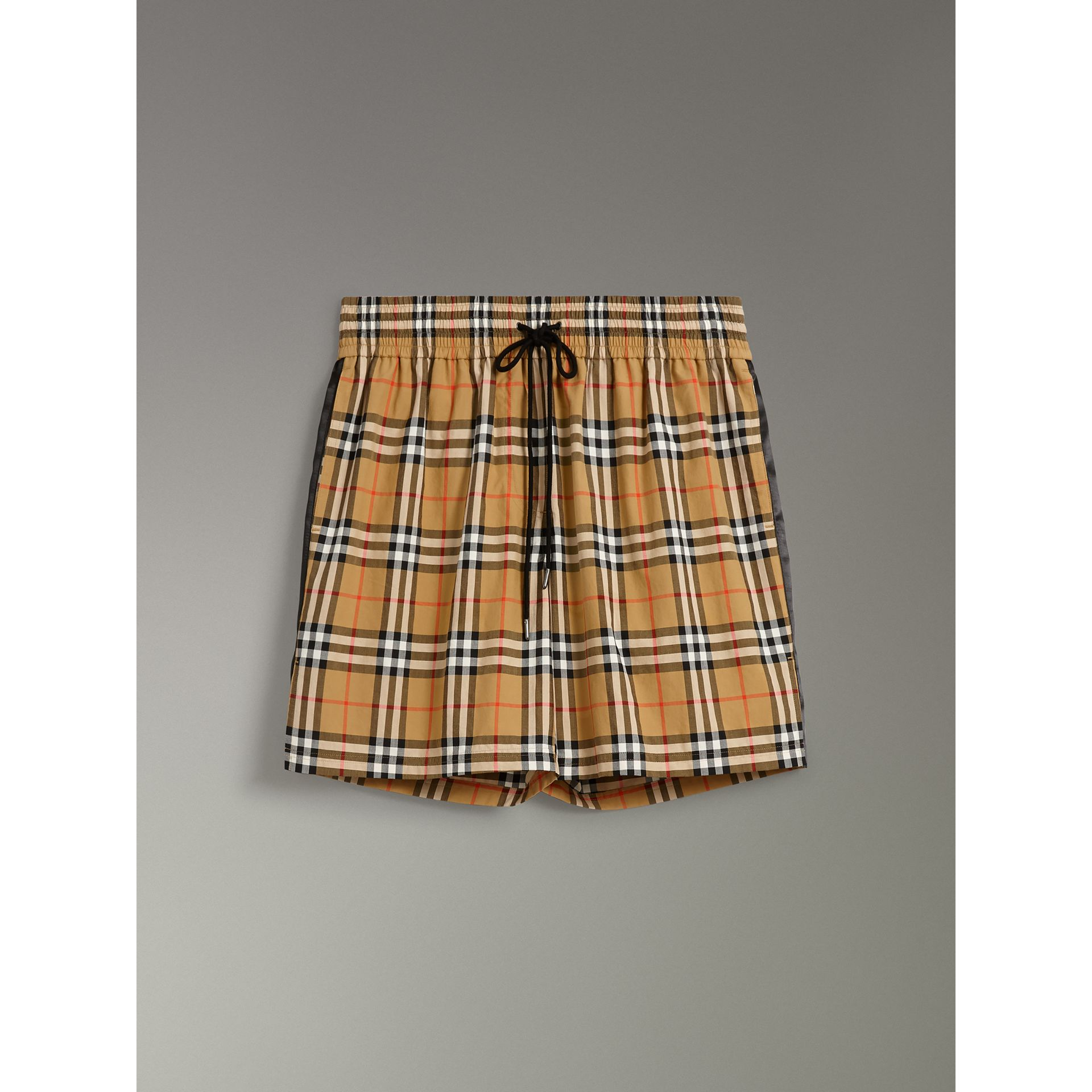 Vintage Check Cotton Drawcord Shorts in Antique Yellow - Women | Burberry - gallery image 3