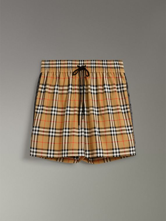 Vintage Check Cotton Drawcord Shorts in Antique Yellow