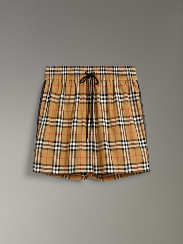 Vintage Check Cotton Drawcord Shorts in Antique Yellow - Women | Burberry - cell image 3