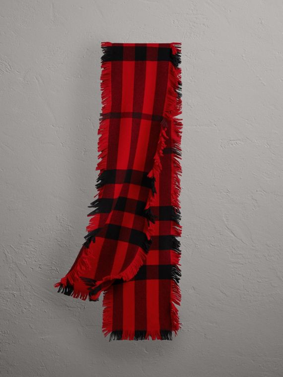 Fringed Check Wool Scarf in Military Red