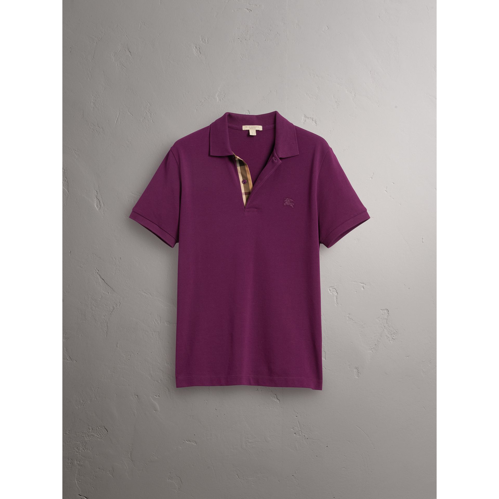 Check Placket Cotton Piqué Polo Shirt in Deep Purple Amethyst - Men | Burberry - gallery image 3
