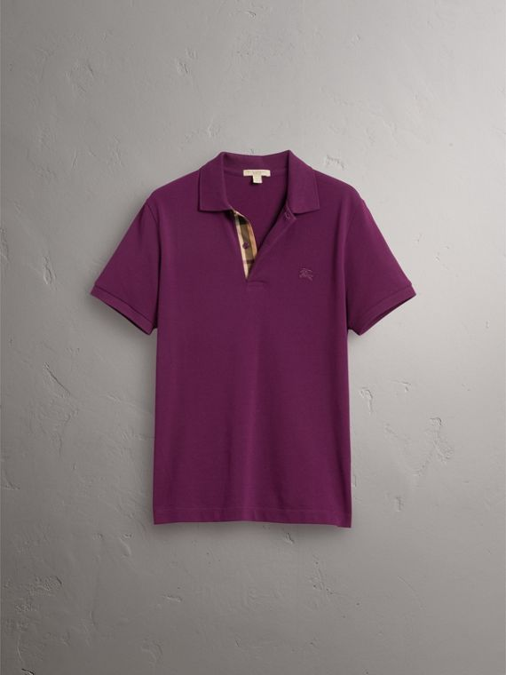 Check Placket Cotton Piqué Polo Shirt in Deep Purple Amethyst - Men | Burberry - cell image 3