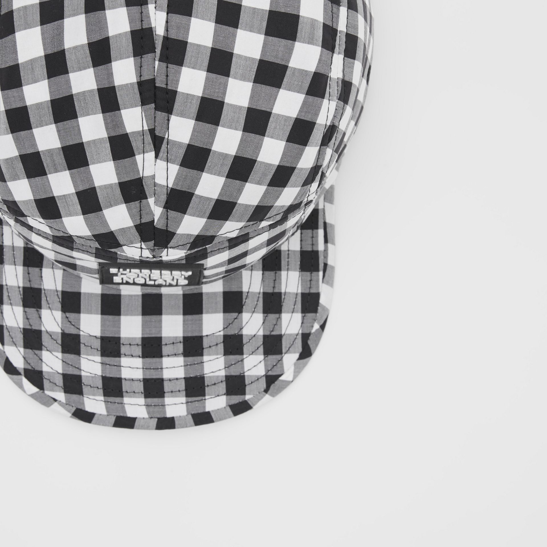 Logo Appliqué Gingham Cotton Cap in Black/white   Burberry United States - gallery image 1
