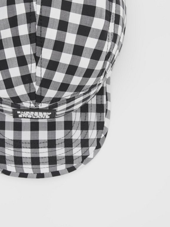 Logo Appliqué Gingham Cotton Cap in Black/white   Burberry United States - cell image 1