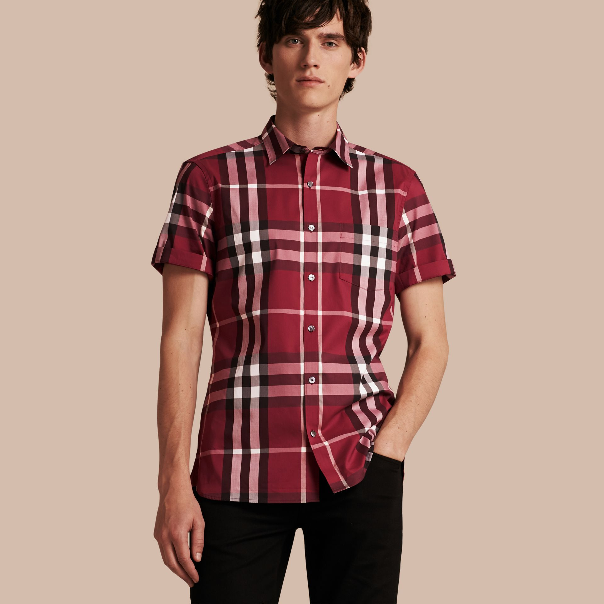 Short-sleeved Check Stretch Cotton Shirt in Plum Pink - Men | Burberry Australia - gallery image 1