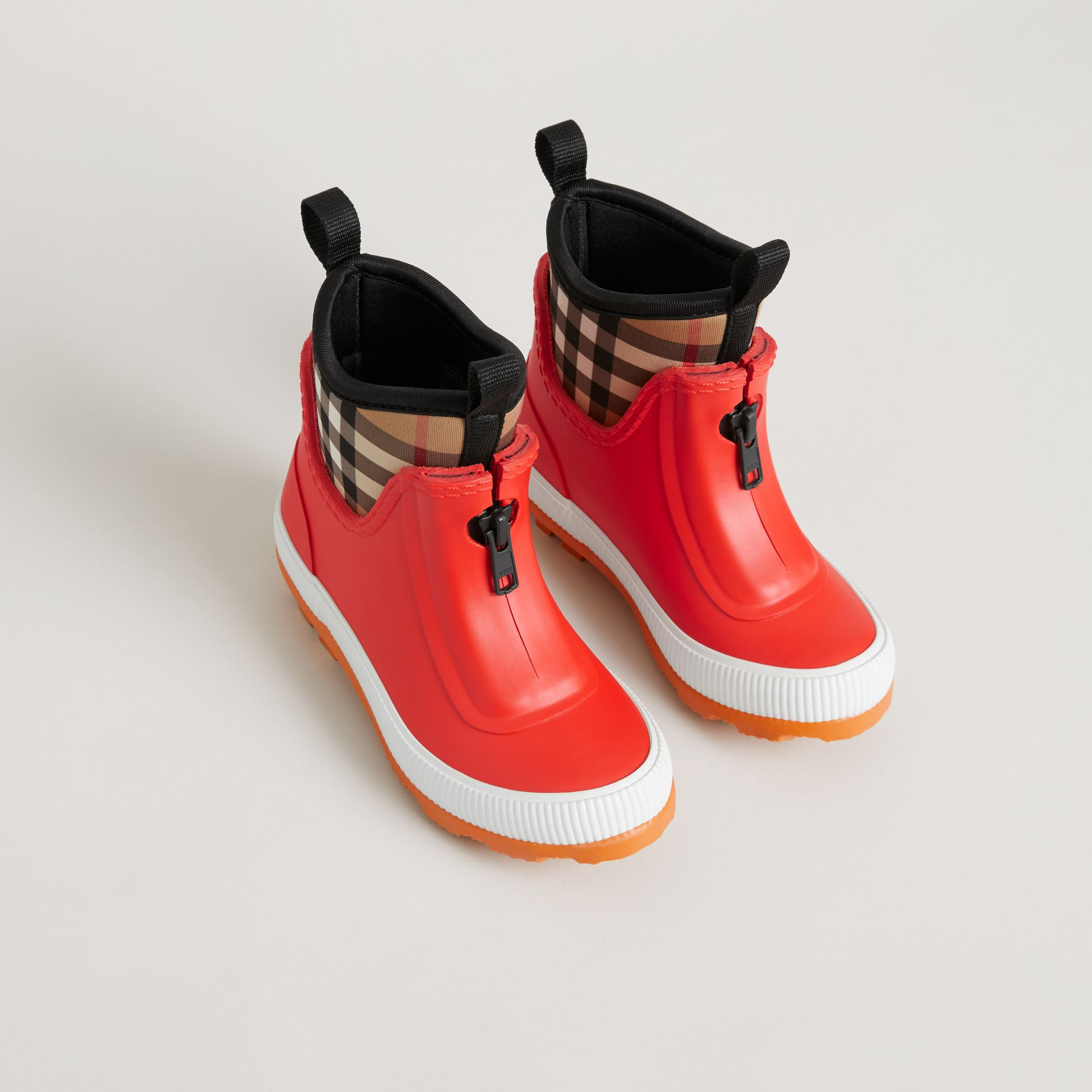 Vintage Check Neoprene and Rubber Rain Boots in Bright Red - Children | Burberry Canada - gallery image 0