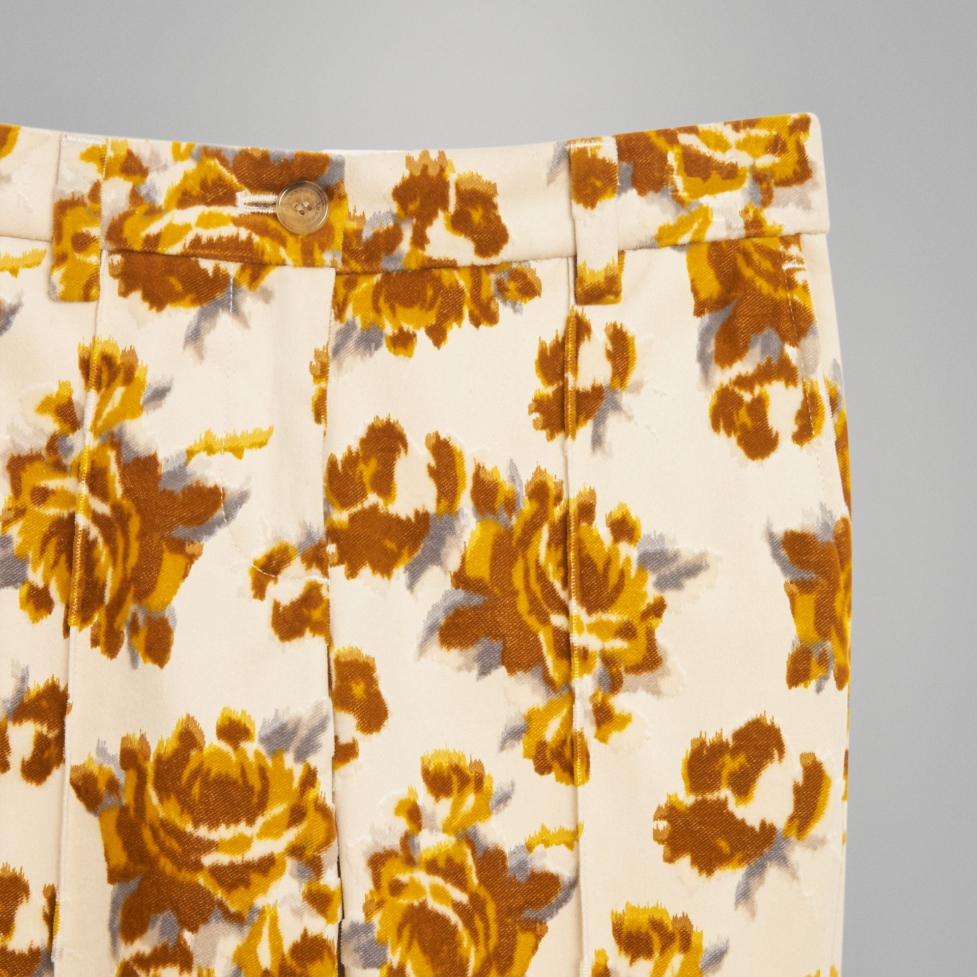 Floral Velvet Jacquard Trousers in Mustard Pattern | Burberry - gallery image 5