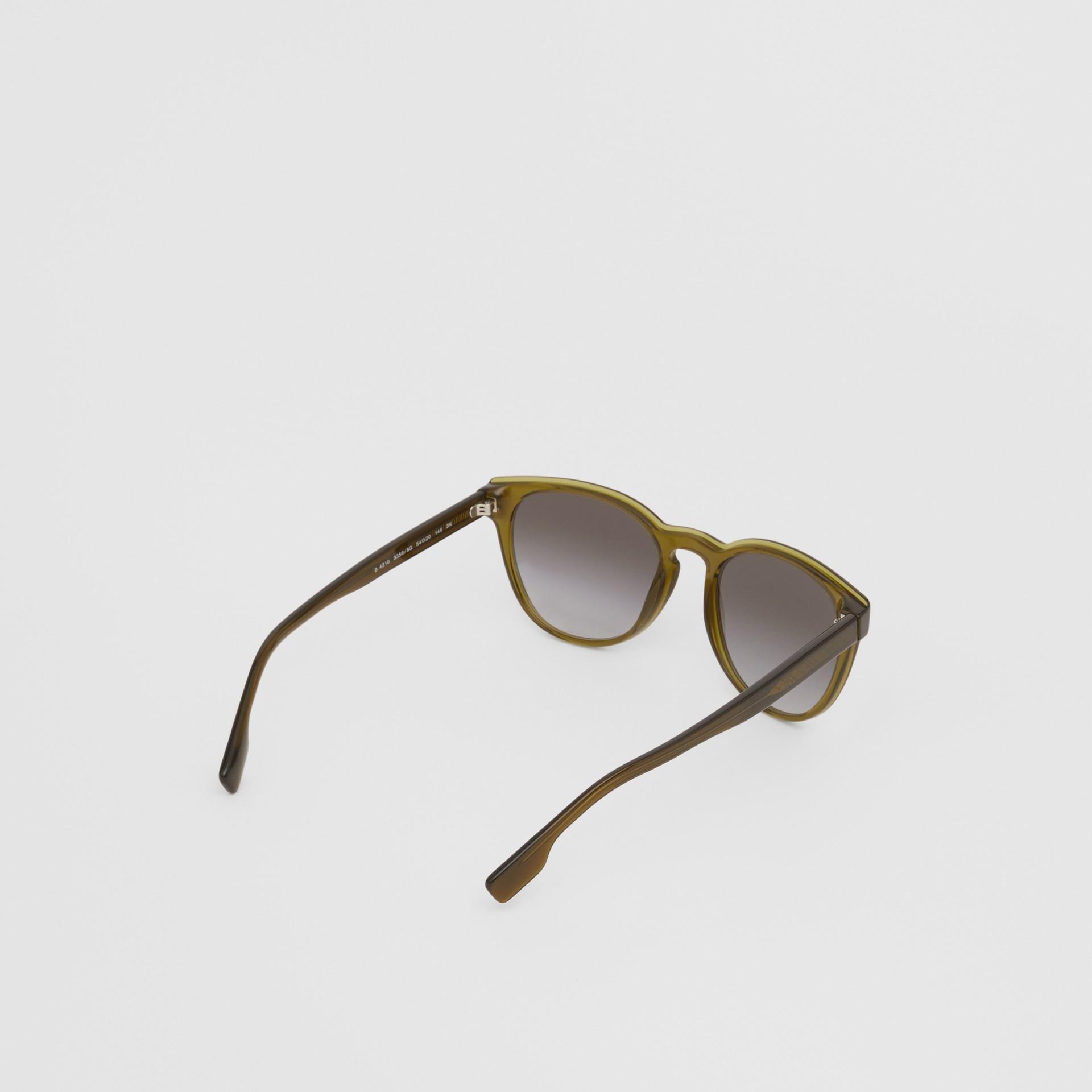 Round Frame Sunglasses in Olive - Men | Burberry Australia - gallery image 3