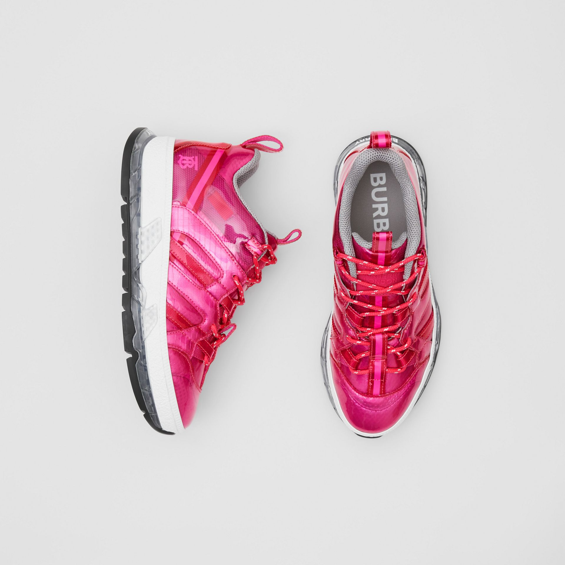 Vinyl and Nylon Union Sneakers in Fuchsia - Women | Burberry - gallery image 0