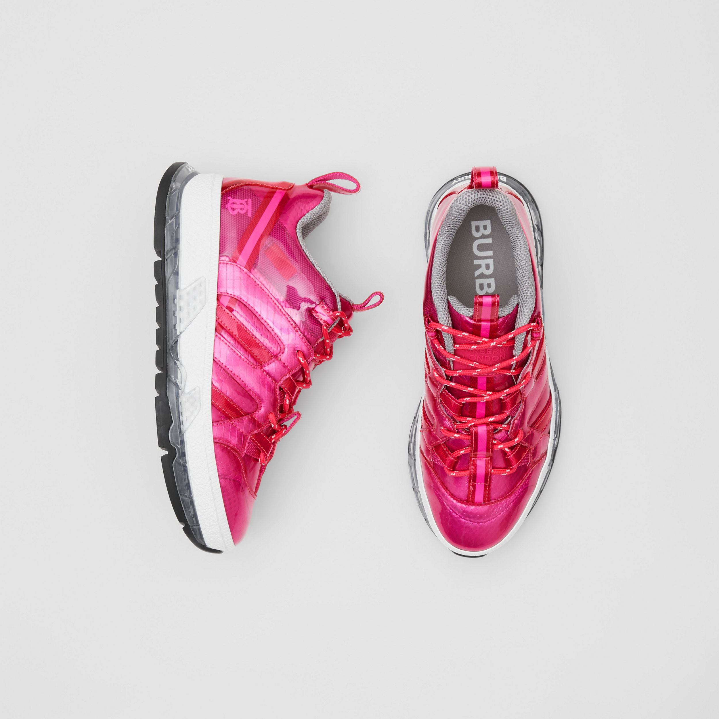 Vinyl and Nylon Union Sneakers in Fuchsia - Women | Burberry - 1