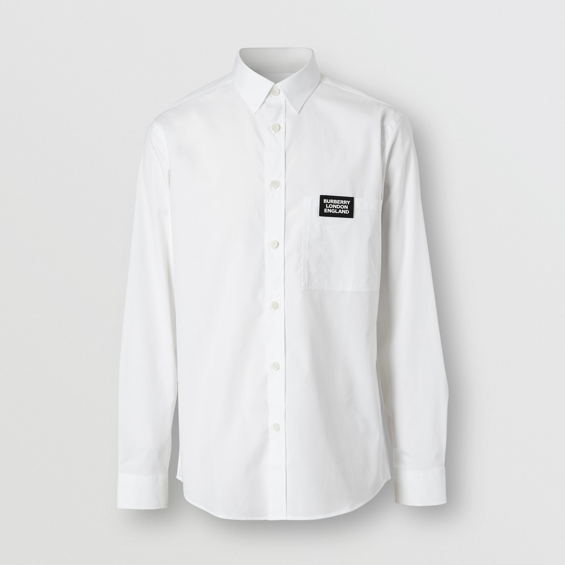 Logo Detail Stretch Cotton Poplin Shirt in White - Men | Burberry Singapore - gallery image 3