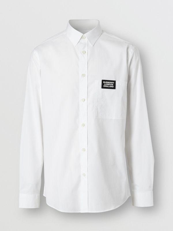 Logo Detail Stretch Cotton Poplin Shirt in White - Men | Burberry Singapore - cell image 3