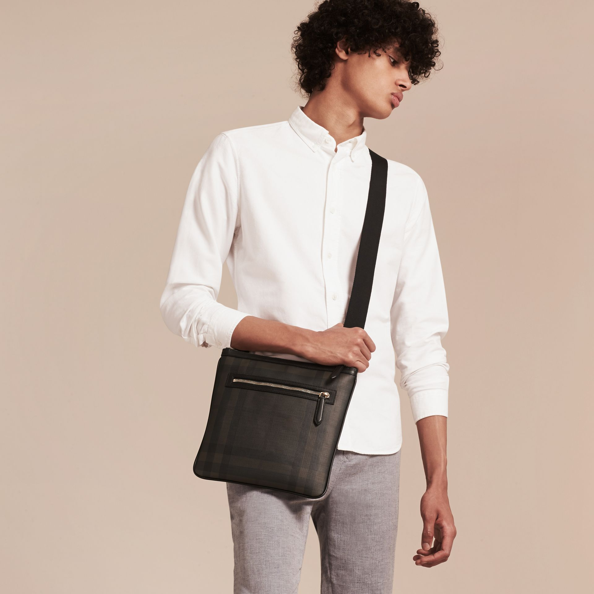 Leather Trim London Check Crossbody Bag in Chocolate/black - Men | Burberry - gallery image 3
