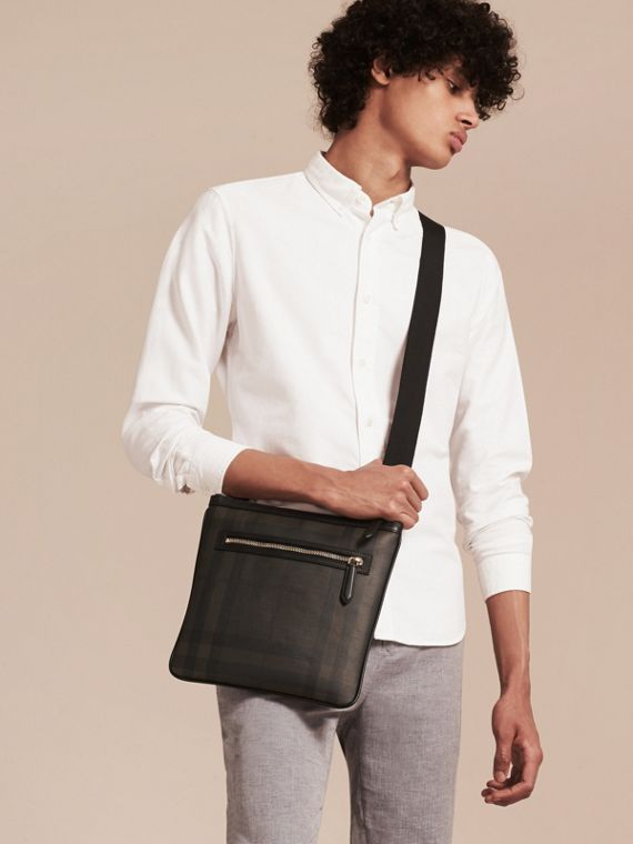 Leather Trim London Check Crossbody Bag in Chocolate/black - Men | Burberry - cell image 2