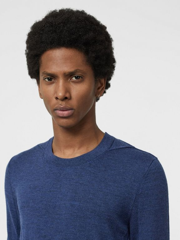 Rib Knit Detail Merino Wool Sweater in Storm Blue - Men | Burberry - cell image 1