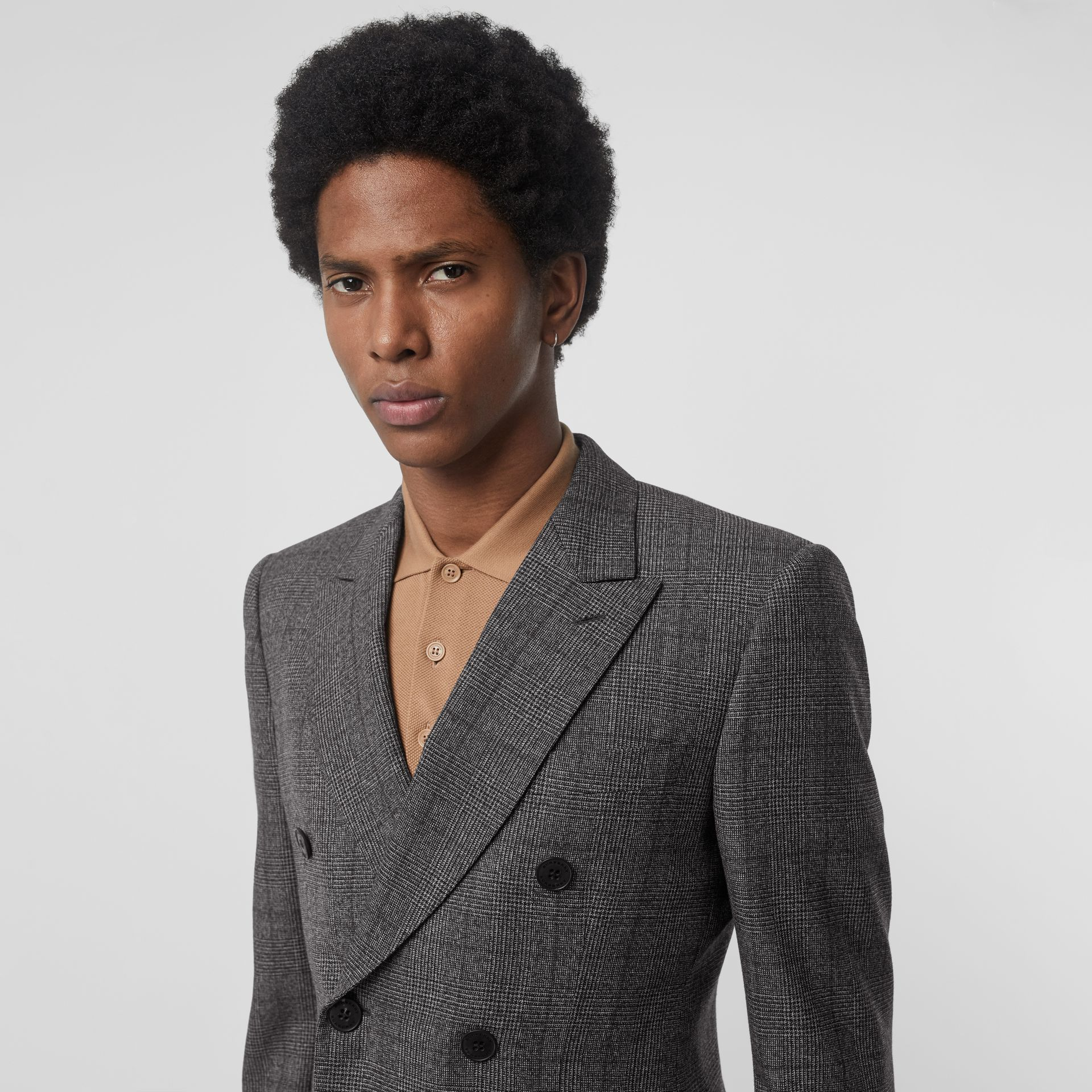 Classic Fit Prince of Wales Check Wool Suit in Charcoal Melange - Men | Burberry United Kingdom - gallery image 1