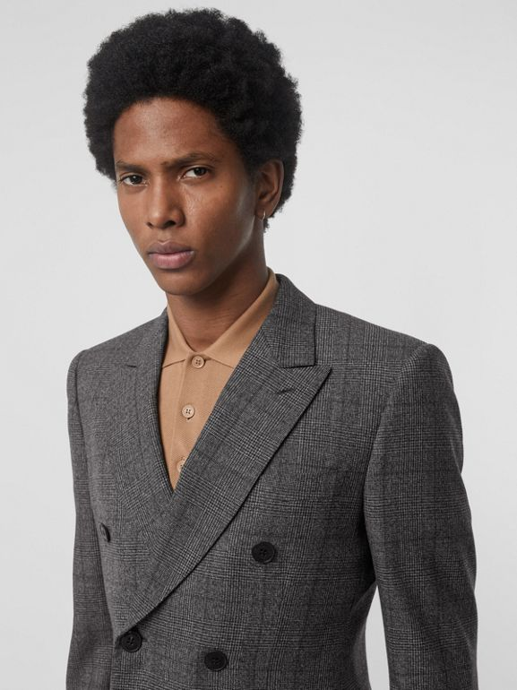 Classic Fit Prince of Wales Check Wool Suit in Charcoal Melange - Men | Burberry - cell image 1