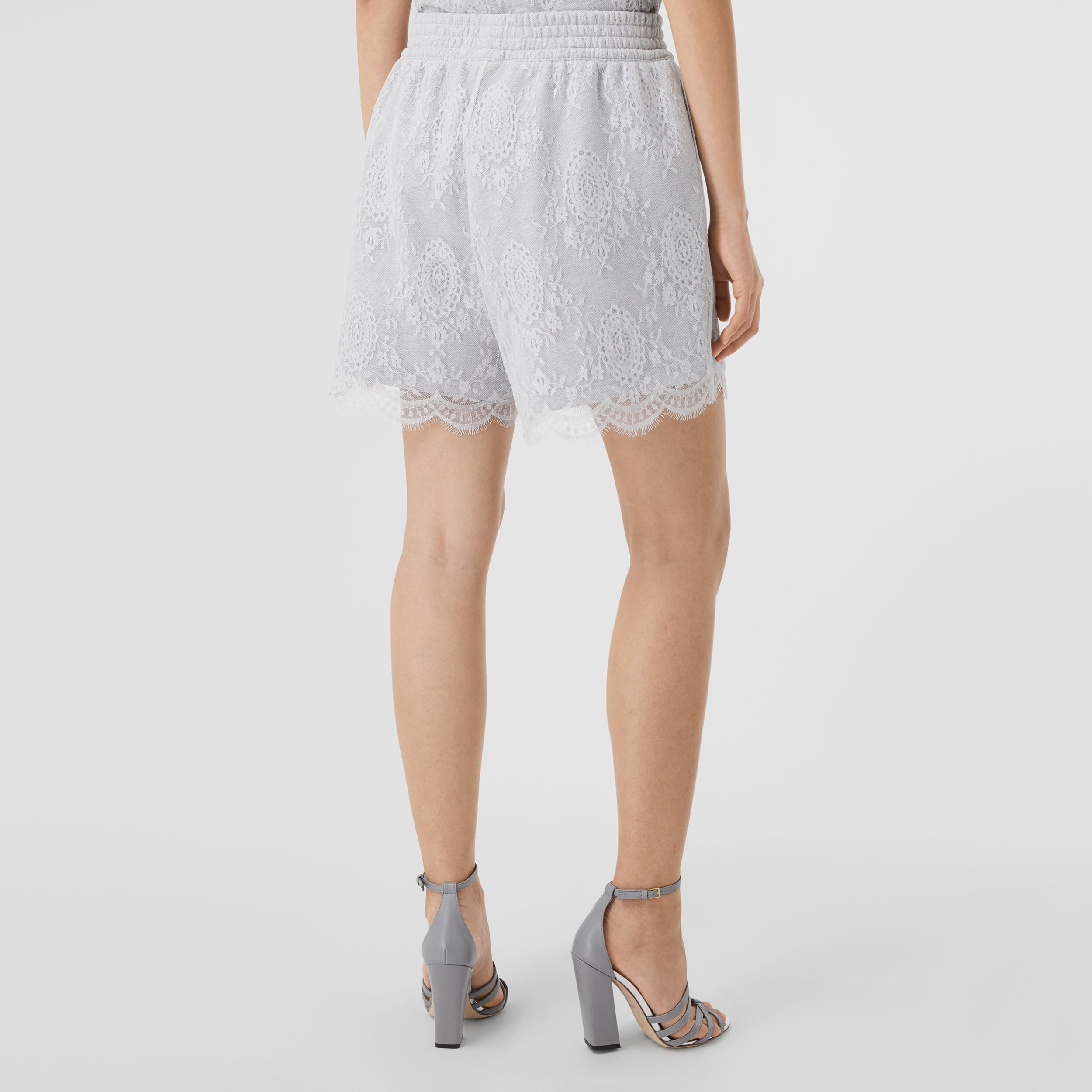 Lace and Cotton Shorts in Light Pebble Grey - Women | Burberry - 3