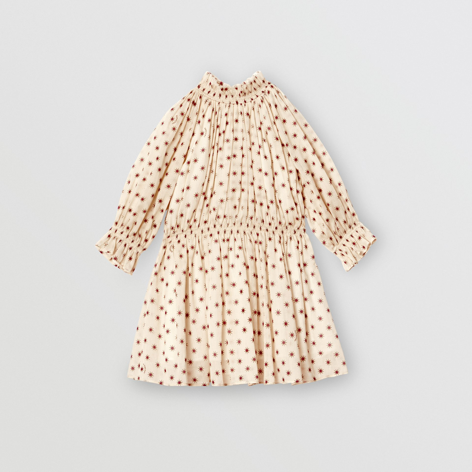 Star Print Gathered Cotton Dress in Military Red - Children | Burberry United Kingdom - gallery image 0