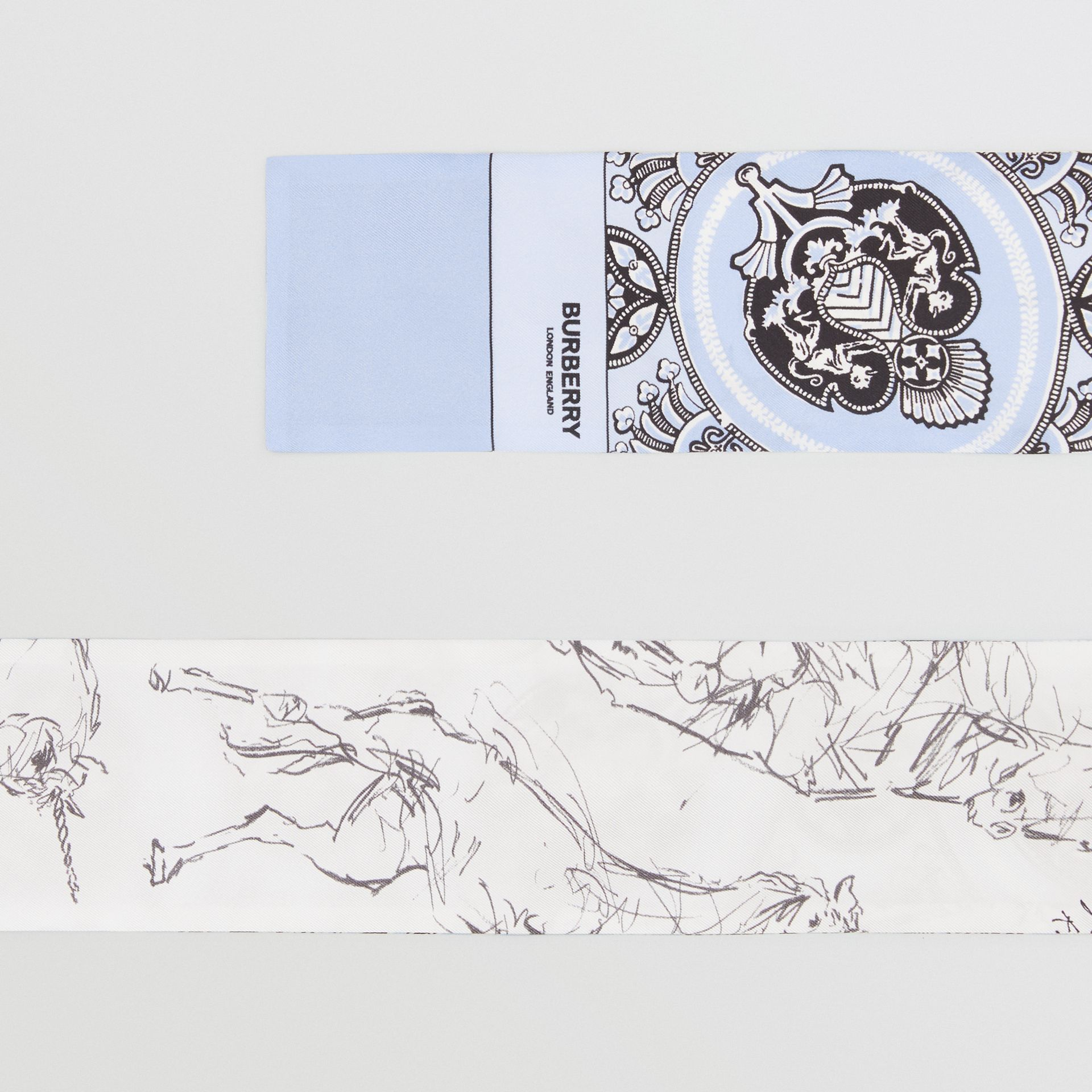 Unicorn Sketch and Antique Print Silk Skinny Scarf in Pale Blue | Burberry United States - gallery image 1