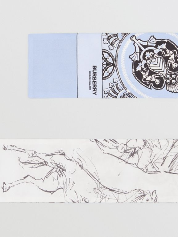 Unicorn Sketch and Antique Print Silk Skinny Scarf in Pale Blue | Burberry United States - cell image 1