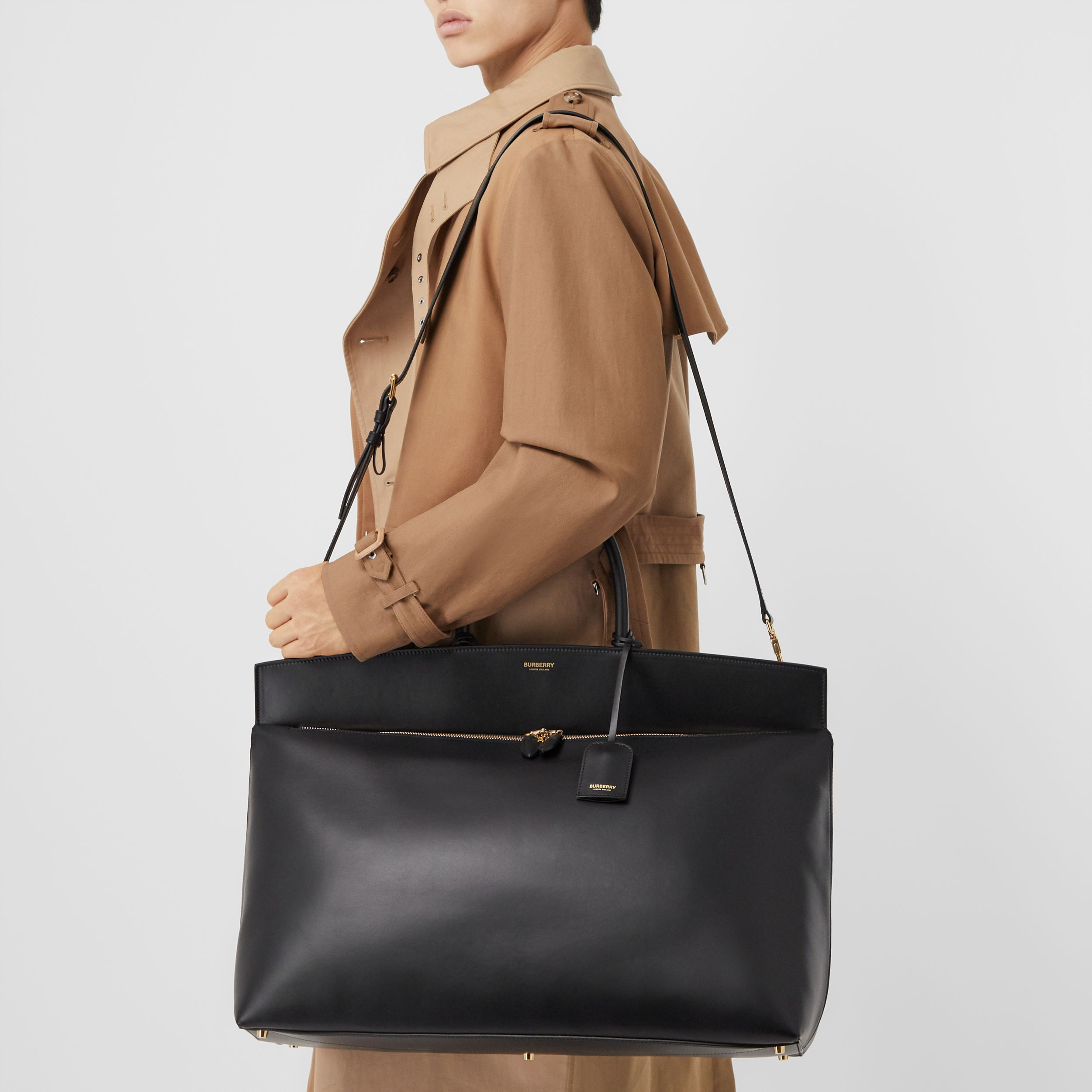 Extra Large Leather Society Top Handle Bag in Black | Burberry - 3