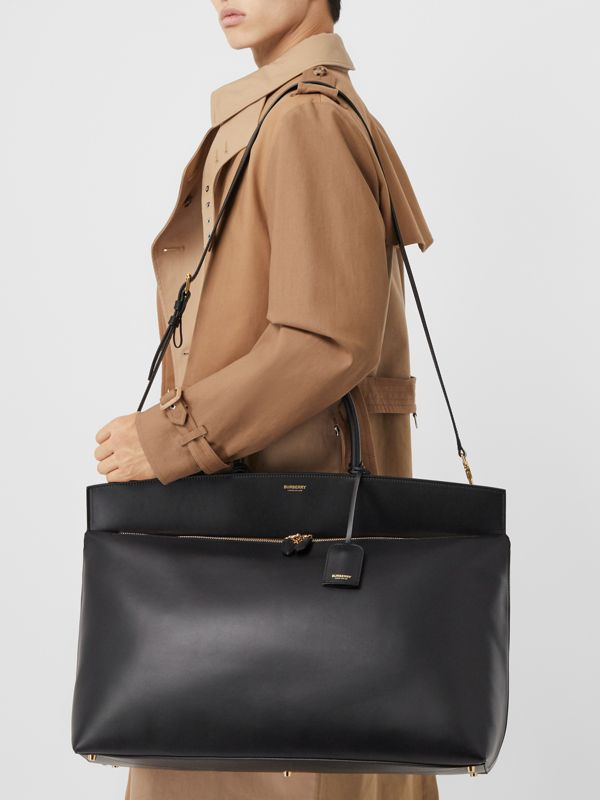 Extra Large Leather Society Top Handle Bag in Black | Burberry - cell image 2