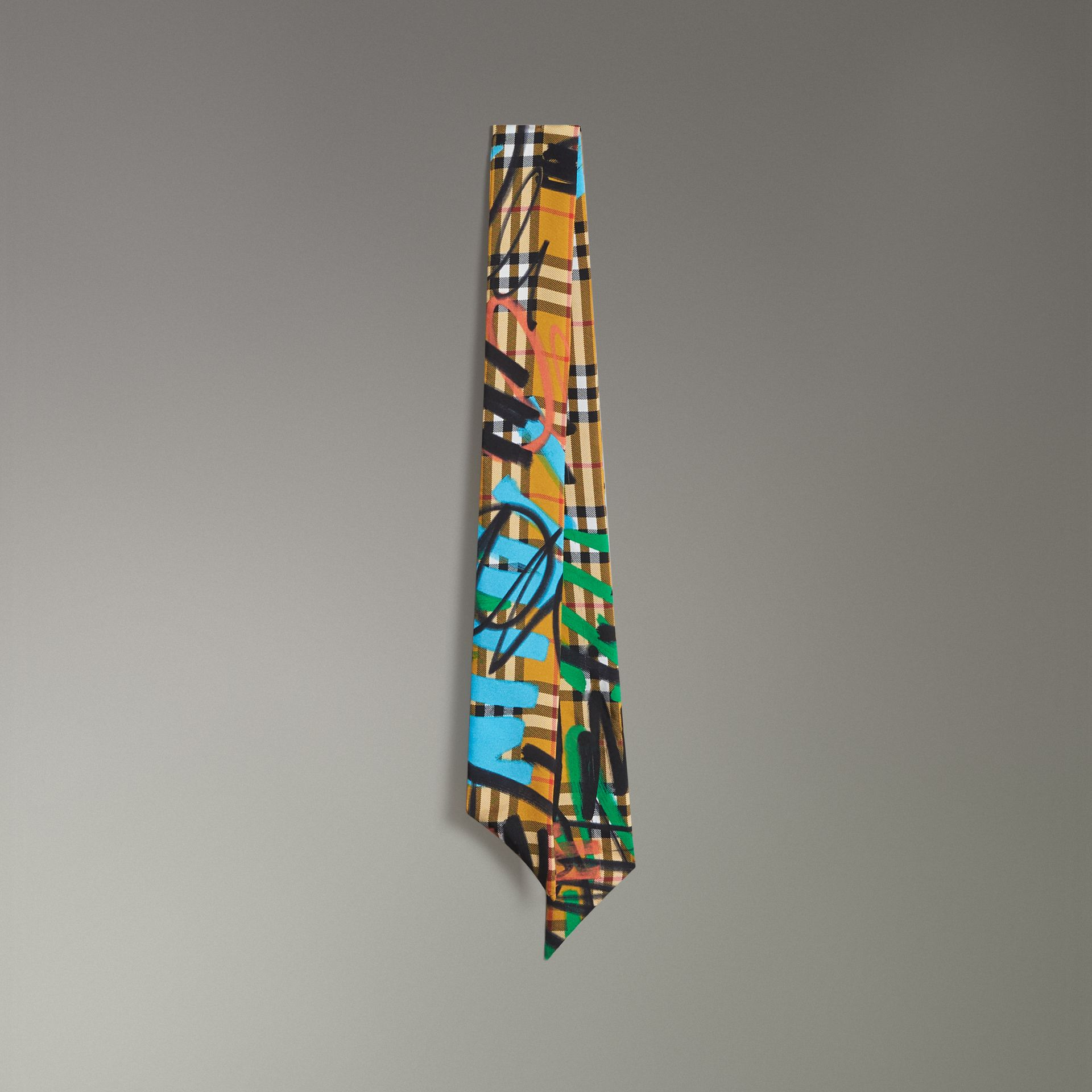 Graffiti Vintage Check Silk Skinny Scarf in Antique Yellow - Women | Burberry - gallery image 0