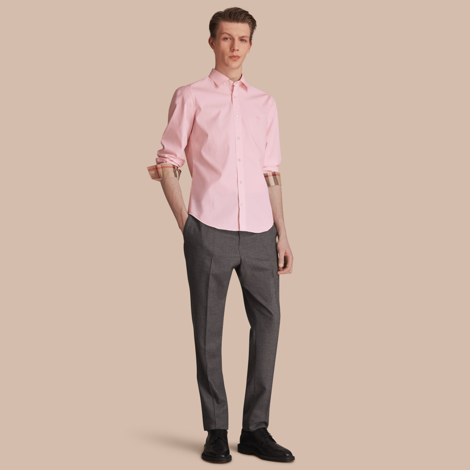 Check Detail Stretch Cotton Poplin Shirt in Pale Pink - Men | Burberry Hong Kong - gallery image 1