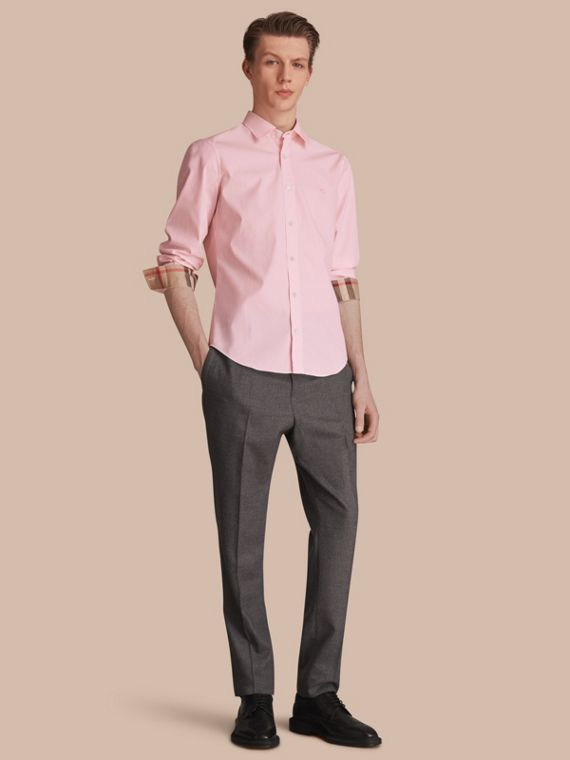 Check Detail Stretch Cotton Poplin Shirt Pale Pink