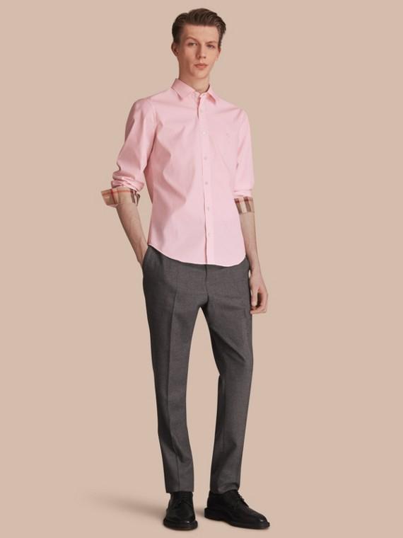 Camicia in popeline di cotone stretch con dettagli check Rosa Pallido