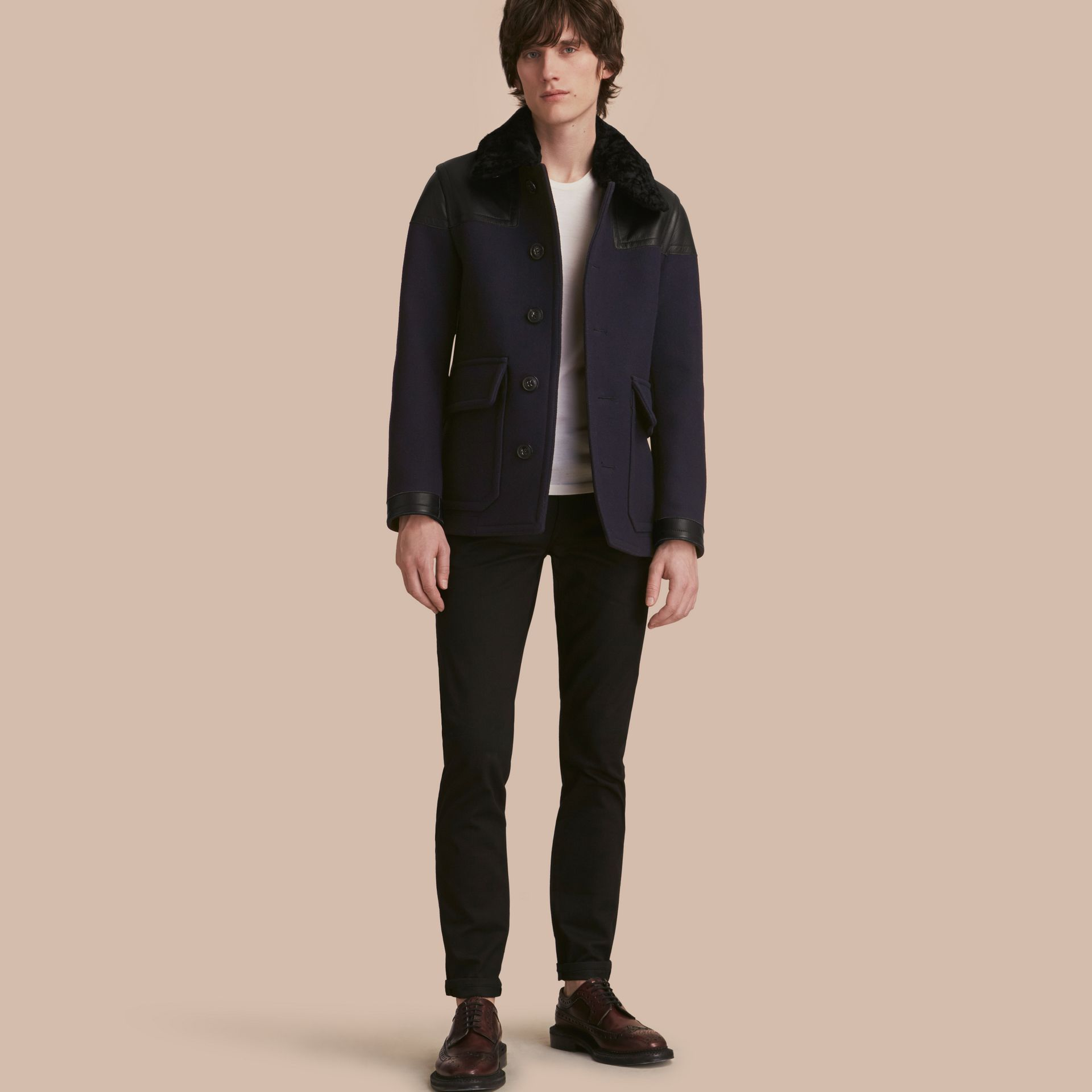 Pea Coat with Detachable Shearling Topcollar - gallery image 1