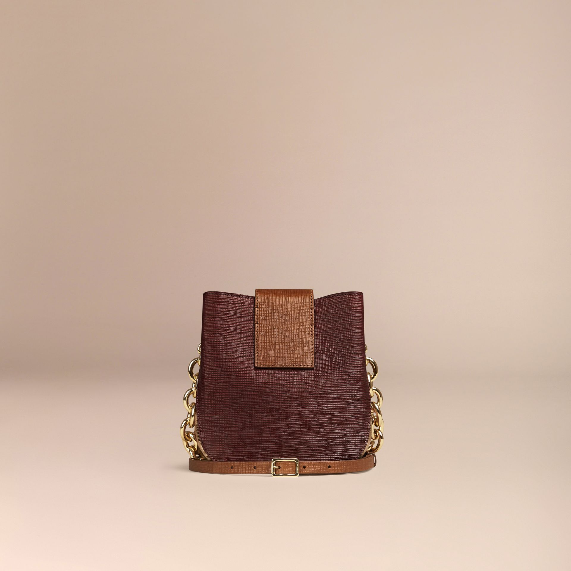 Burgundy The Small Square Buckle Bag in Leather and House Check Burgundy - gallery image 4