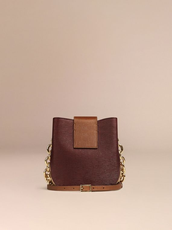 Burgundy The Small Square Buckle Bag in Leather and House Check Burgundy - cell image 3