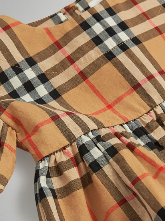 Ruffle Detail Vintage Check Dress with Bloomers in Antique Yellow - Children | Burberry Singapore - cell image 1