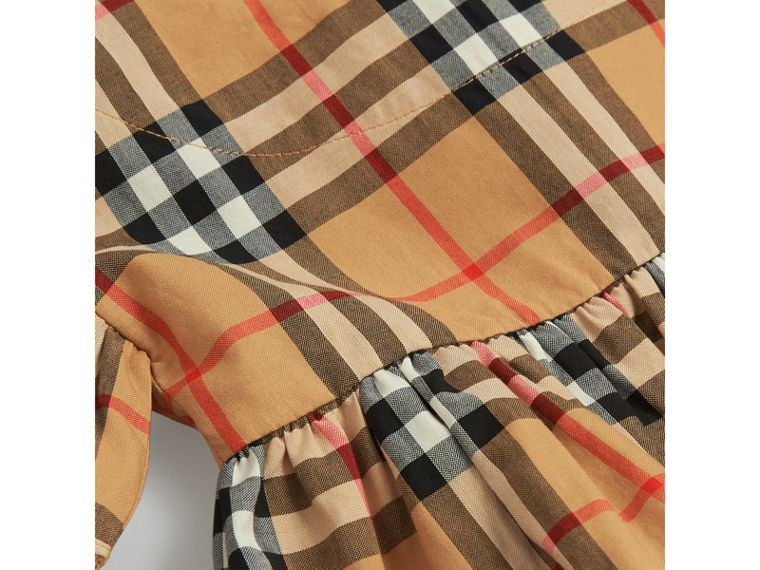 Ruffle Detail Vintage Check Dress with Bloomers in Antique Yellow | Burberry - cell image 1
