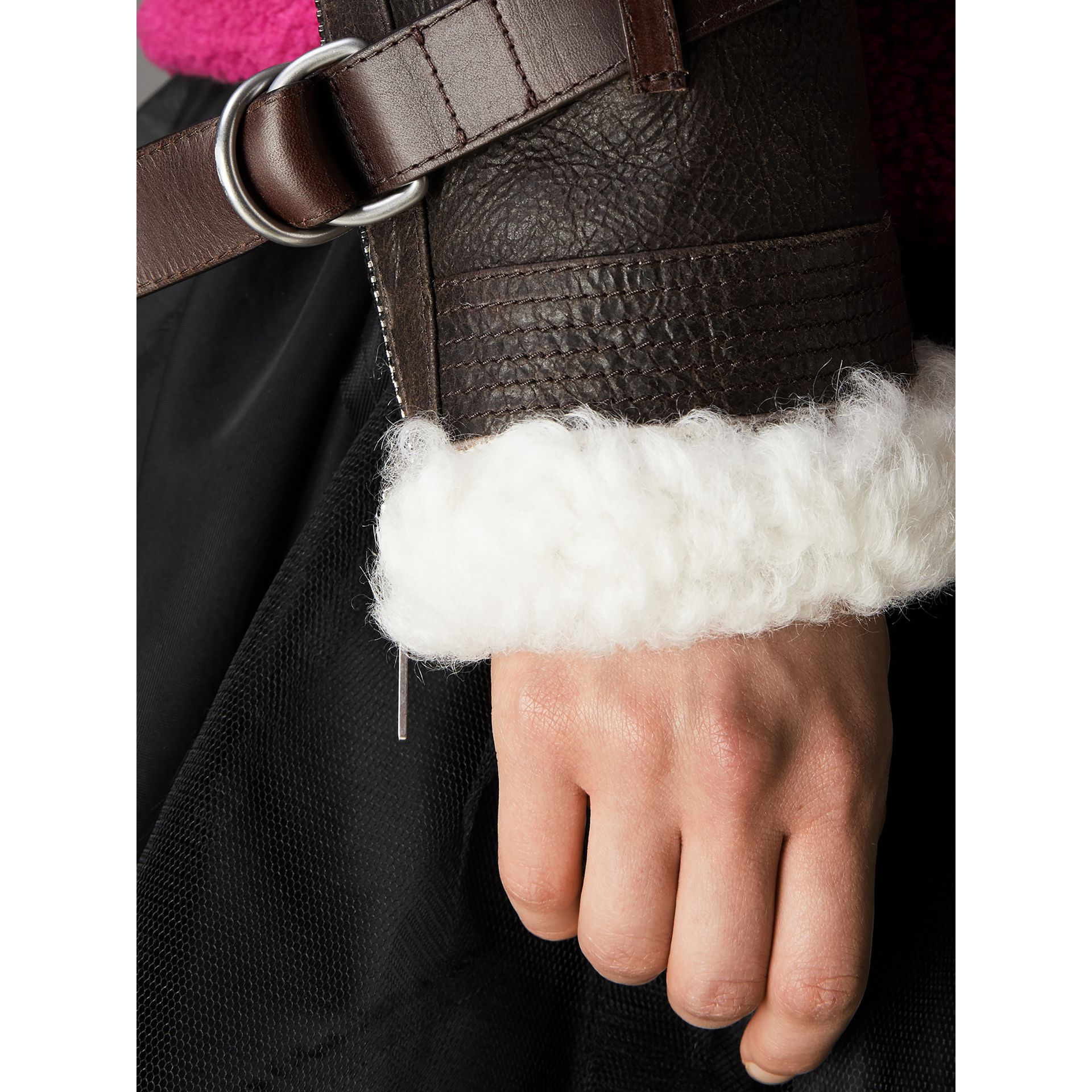 Reissued 2010 Shearling Aviator in Chocolate - Women | Burberry - gallery image 4