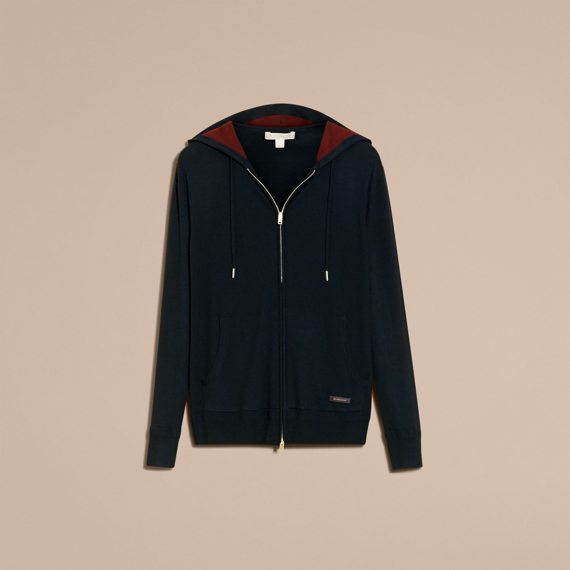 Navy Two-tone Cashmere Hooded Top - gallery image 4