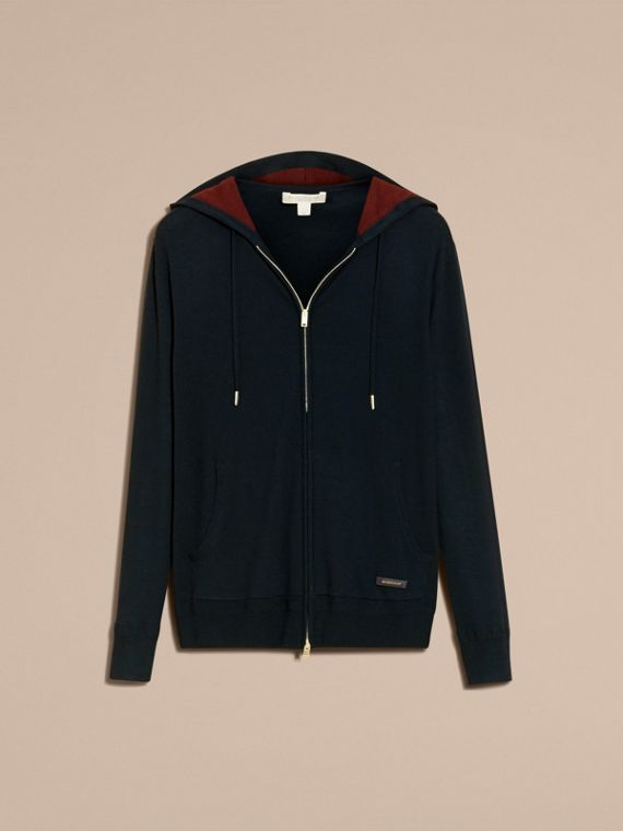 Navy Two-tone Cashmere Hooded Top - cell image 3