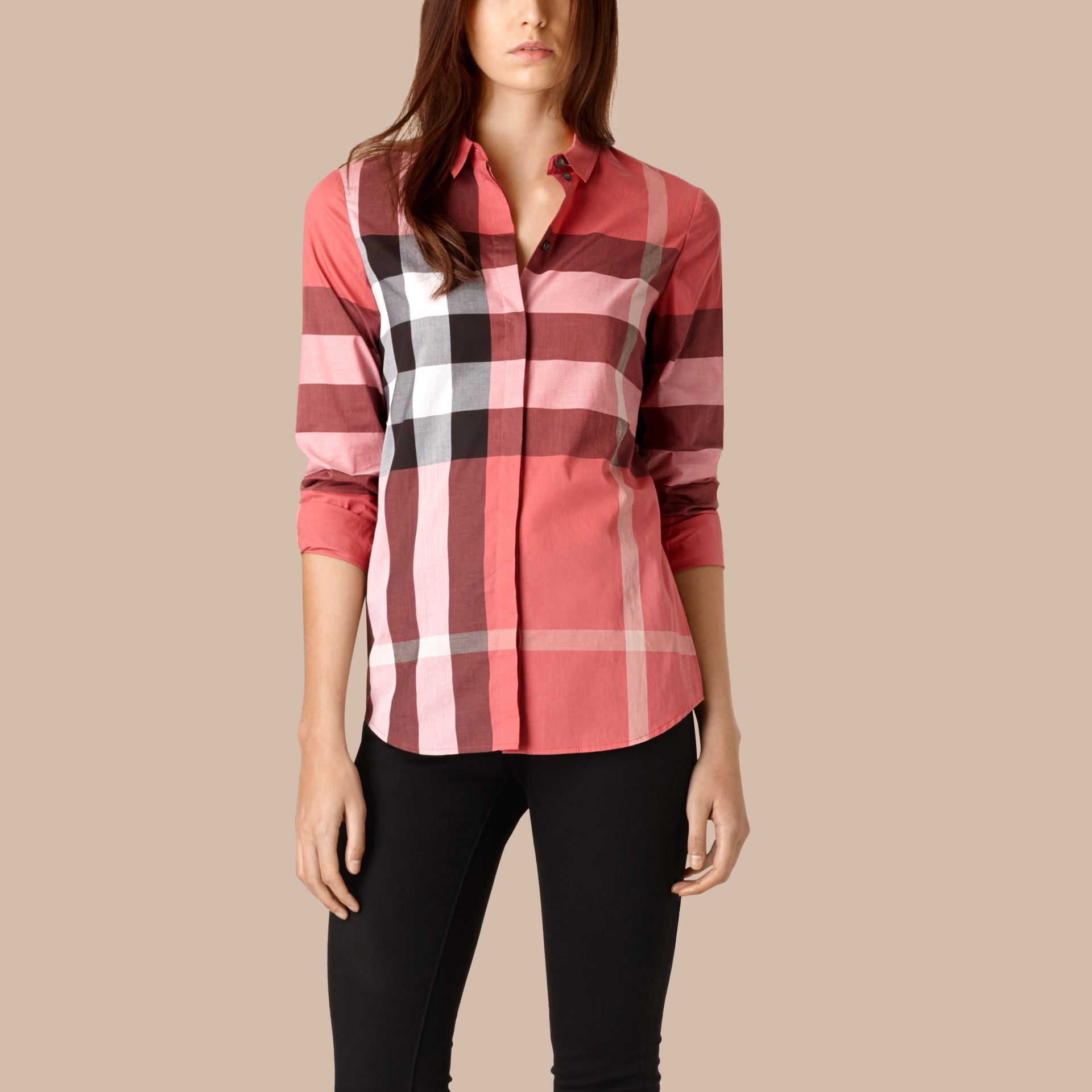 Bright copper pink Check Cotton Shirt Bright Copper Pink - gallery image 1