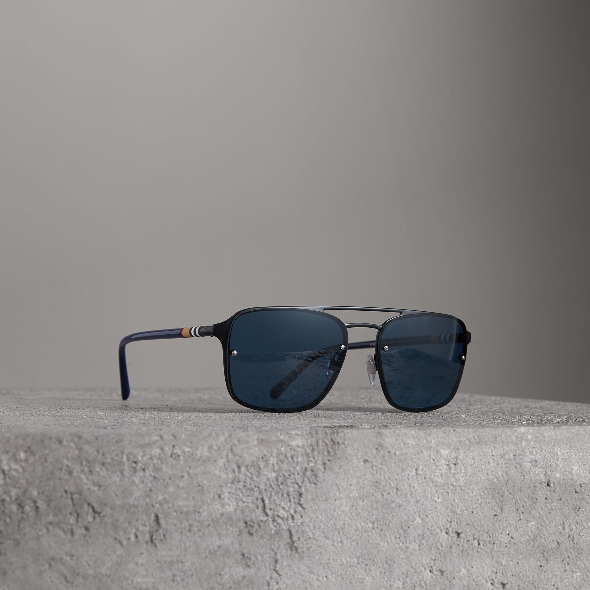 Square Frame Metal Sunglasses in Black/blue - Men | Burberry - gallery image 0
