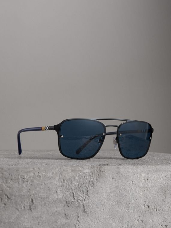 Square Frame Metal Sunglasses in Black/blue