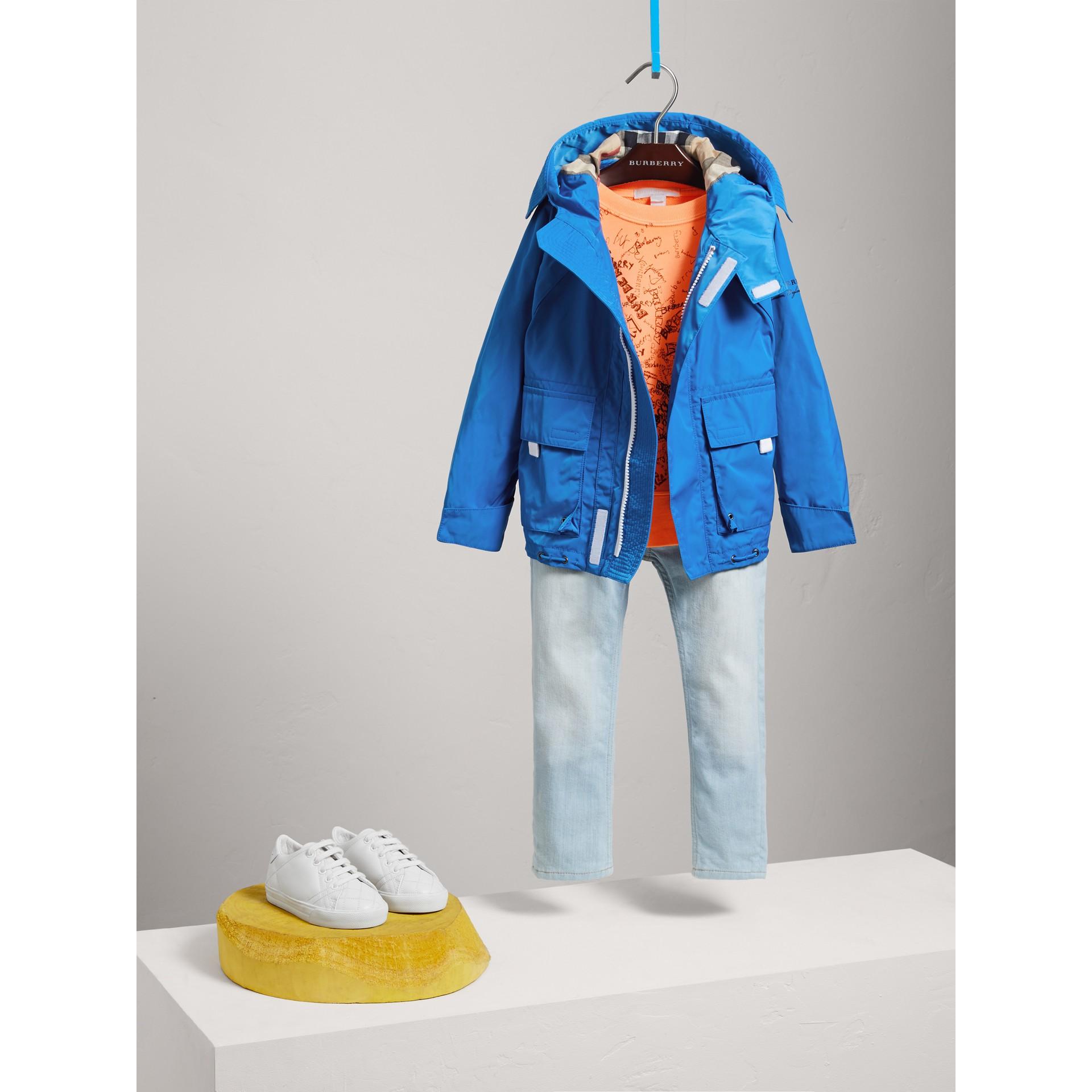 Hooded Shape-memory Taffeta Field Jacket in Azure Blue - Boy | Burberry - gallery image 1