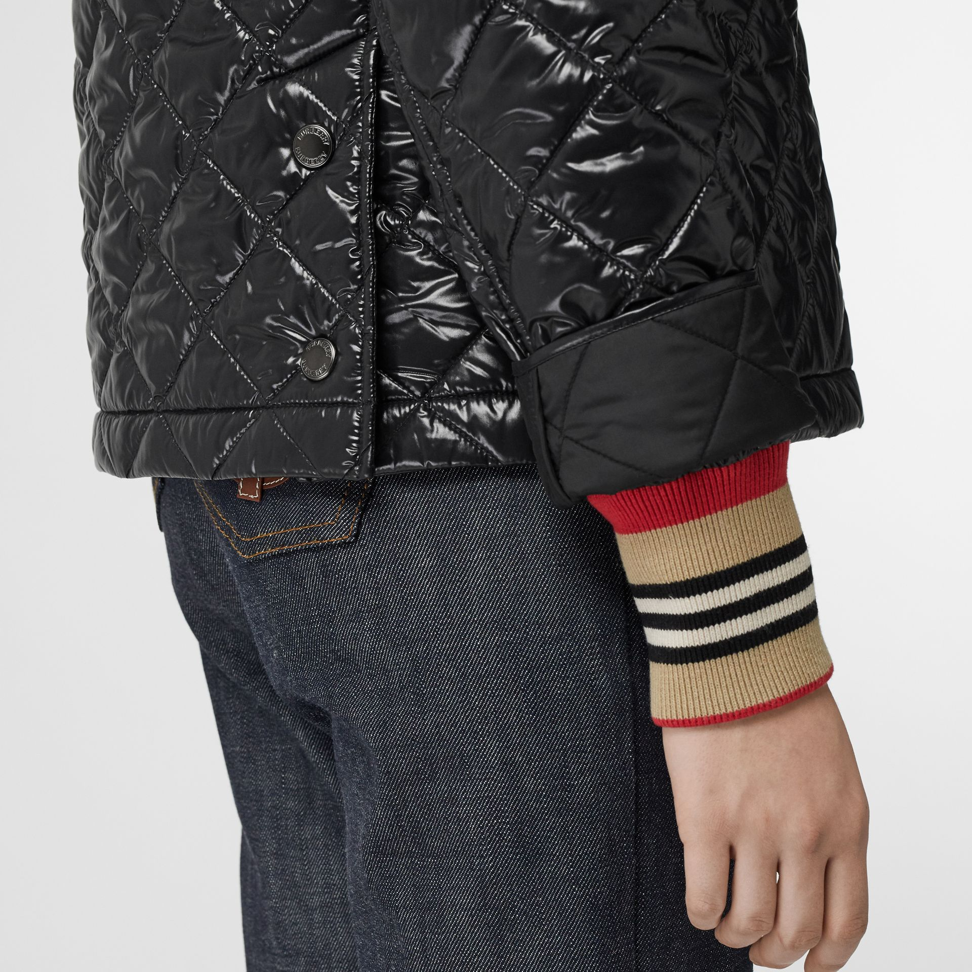 Monogram Motif Diamond Quilted Jacket in Black - Women | Burberry United Kingdom - gallery image 4