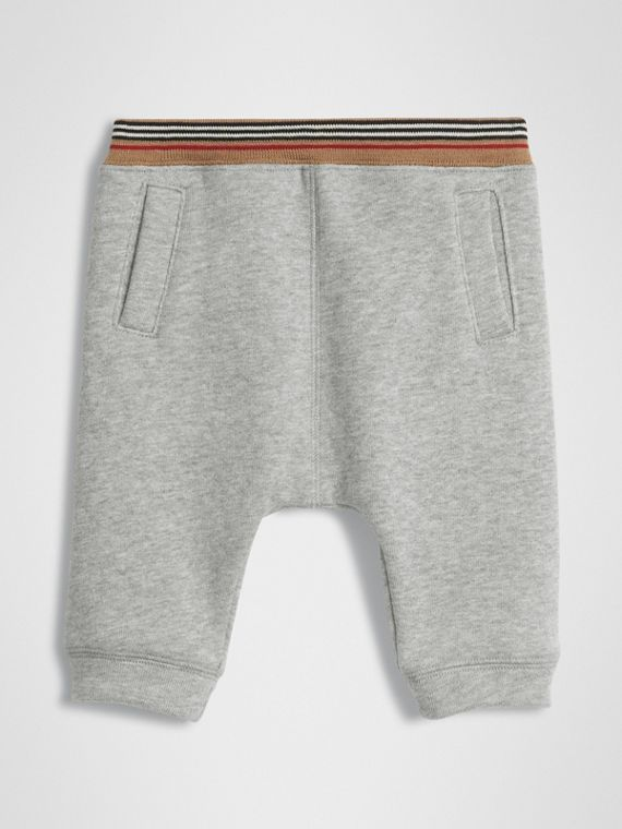 Icon Stripe Cotton Jersey Sweatpants in Grey Melange