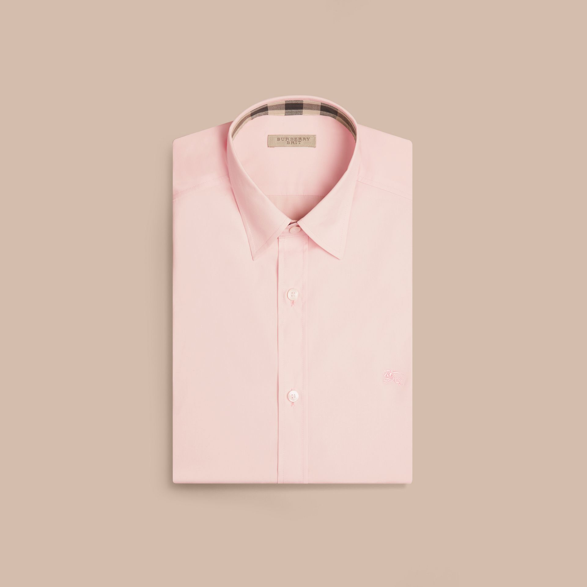 Check Detail Stretch Cotton Poplin Shirt Pale Pink - gallery image 4