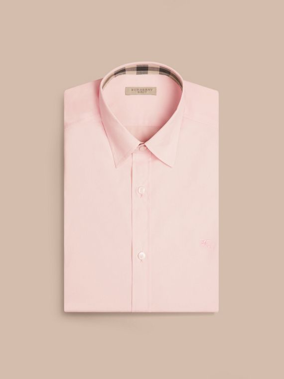 Pale pink Check Detail Stretch Cotton Poplin Shirt Pale Pink - cell image 3