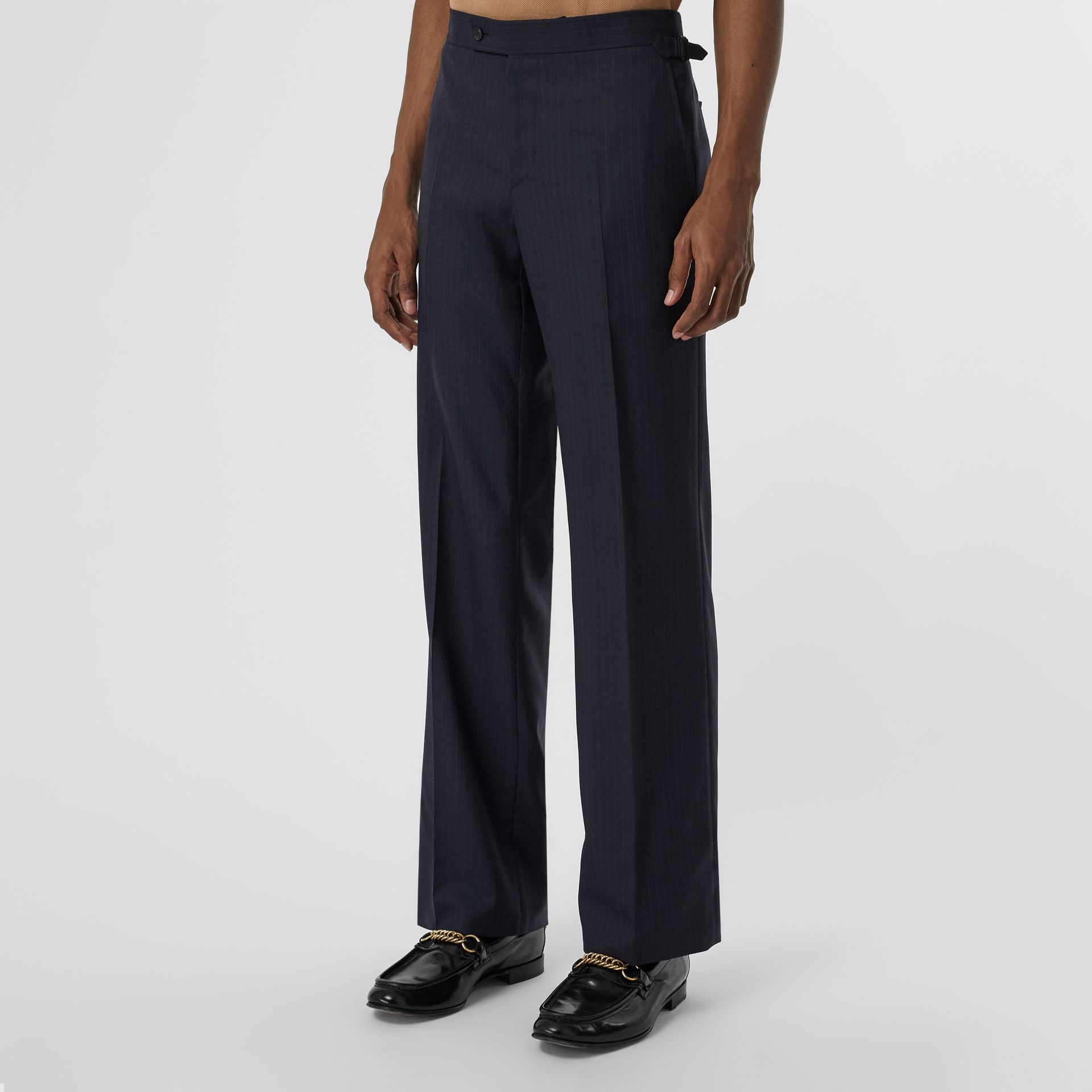 Classic Fit Pinstriped Wool Tailored Trousers in Navy Stripe - Men | Burberry Australia - gallery image 4