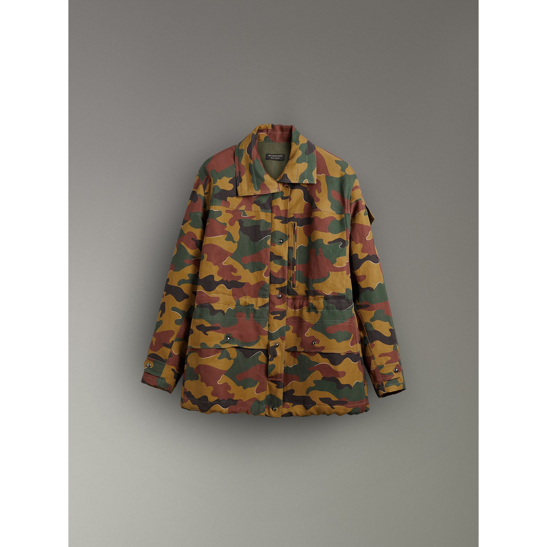 Boyfriend Fit Camouflage Print Jacket in Ochre Green - Women | Burberry - gallery image 3