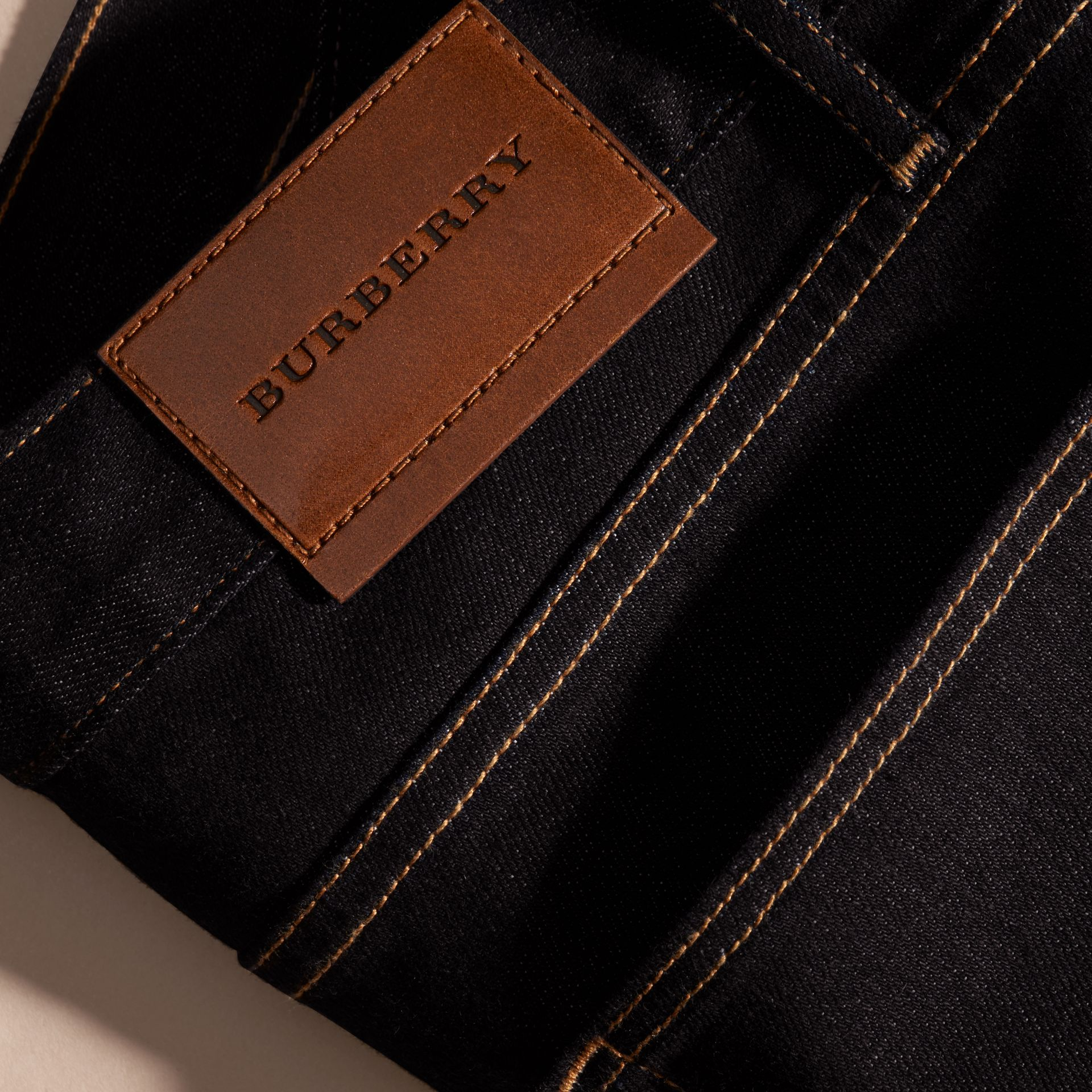 Dark indigo Slim Fit Stretch Japanese Selvedge Denim Jeans - gallery image 2